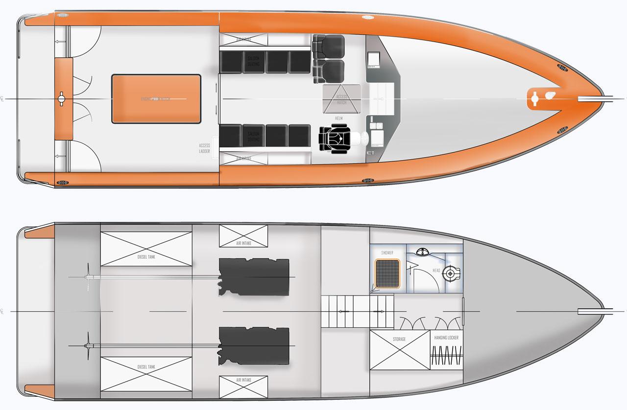 pilot boat render hall marine design concept